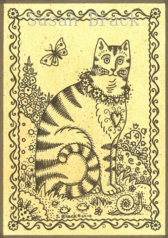 Country Primitive Tabby Cat Feline Susan Brack Pen And Ink Drawing Art Illustration License