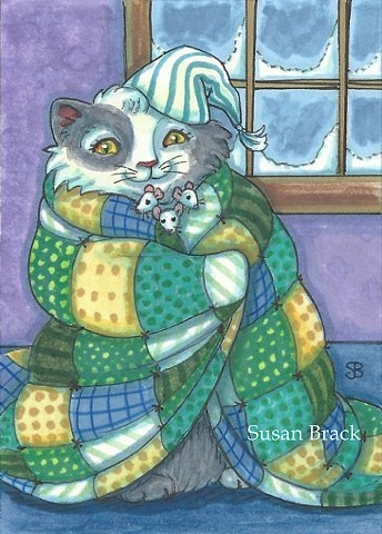 Cat Feline Kitten Mice Mouse Patchwork Quilt Susan Brack Art ACEO EBSQ License