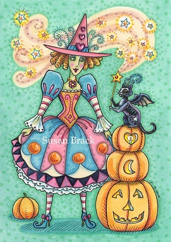 Witch Woman girl Halloween magic wand Black Cat Susan Brack Art License