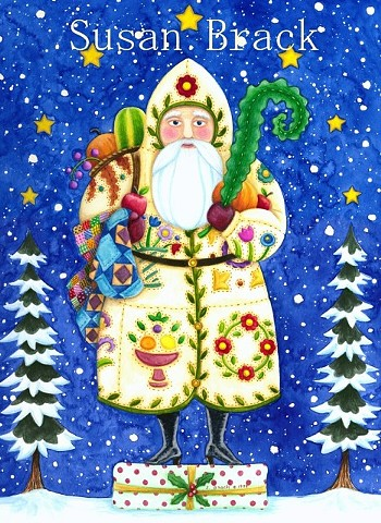 St. Nick Father Christmas Belsnickle Santa Baltimore Quilt Susan Brack Folk Art License
