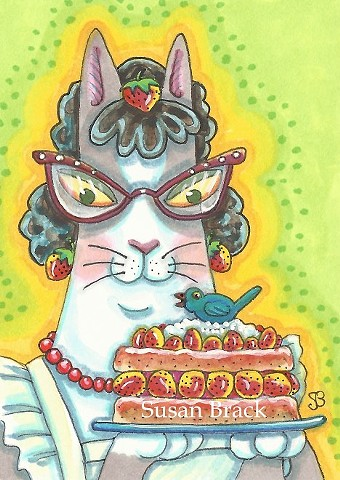 Hiss N' Fitz Lady Cat Strawberry Shortcake Susan Brack Art Feline Humor License EBSQ