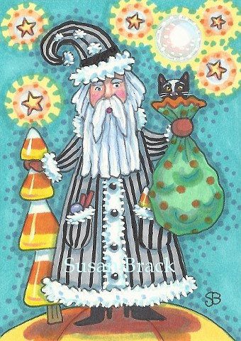 Christmas Halloween Santa St. Nick Hallomas Susan Brack Illustration Art ACEO EBSQ