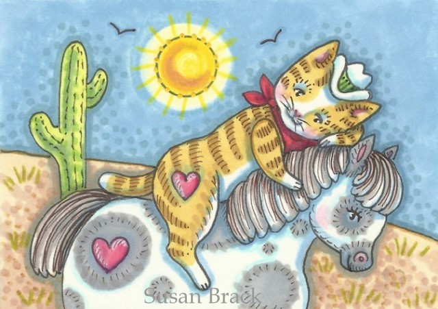 Cats Felines Kittens Cowboy Pony Horse Western Cartoon Susan Brack Art Illustration License