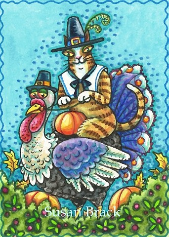 Hiss N' Fitz Cat Feline Thanksgiving Turkey Pilgrim Susan Brack Illustration Art ACEO EBSQ