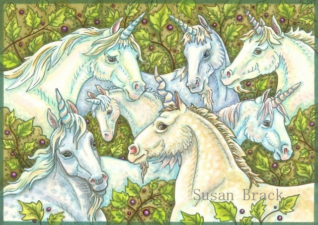 Wild Unicorn Herd Medieval Horse Fantasy Susan Brack Original Art Illustration License
