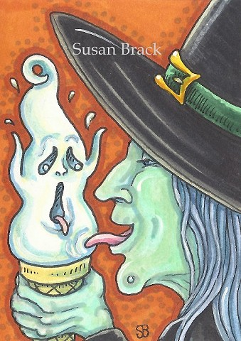 Halloween Witch Ice Cream Cone Susan Brack Art Illustration ACEO EHAG EBSQ