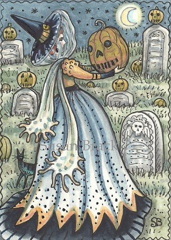 Cemetery Mourning Witch Jack O Lantern Grave Halloween Susan Brack Art Illustration ACEO