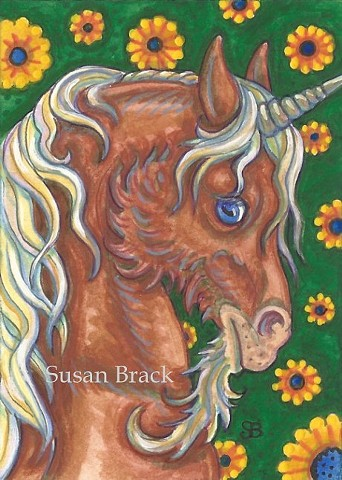 Unicorn Red Stallion Medieval Horse Portrait Fantasy Susan Brack Art Artist Licensing