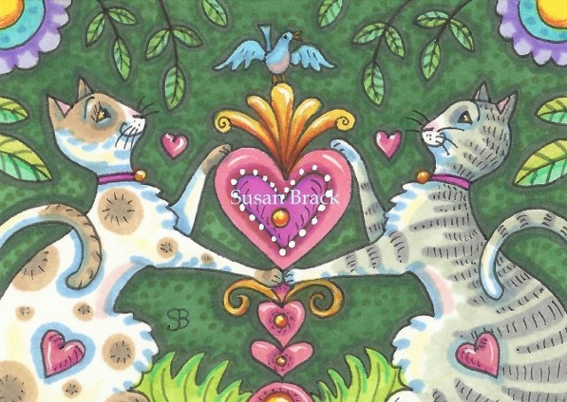 Valentine Kittens Cat Feline Kittens Heart Susan Brack Folk Art Illustration EBSQ ACEO