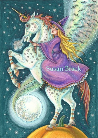 Halloween Susan Brack Folk Art Fantasy Witch Unicorn