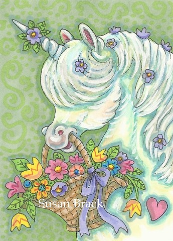 Unicorn Pony Fantasy Horse May Day Whimsical Susan Brack Original Art Artist License