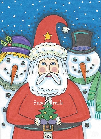 Snowman Santa Claus St. Nick Cartoon Card Christmas Holiday Susan Brack Art License