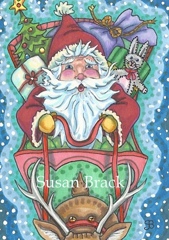St. Nicholas Santa Father Christmas Reindeer Sleigh Toys Holiday Susan Brack Art License