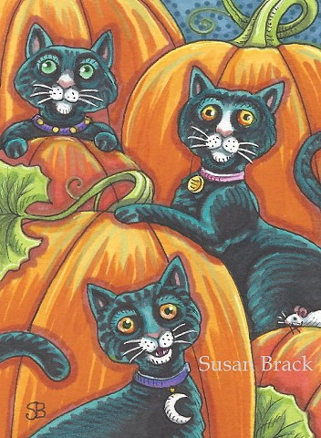Black Cat Feline Kitten Pumpkin Patch Halloween Susan Brack Art ACEO EBSQ License