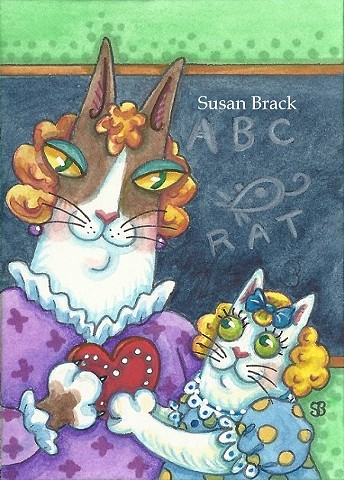 Hiss N Fitz Cat School Days Teacher Valentines Day Susan Brack Series Art License