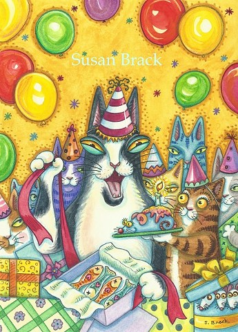 Hiss N Fitz Cat Feline Birthday Party Animals Giftts Susan Brack Series Art Licensing