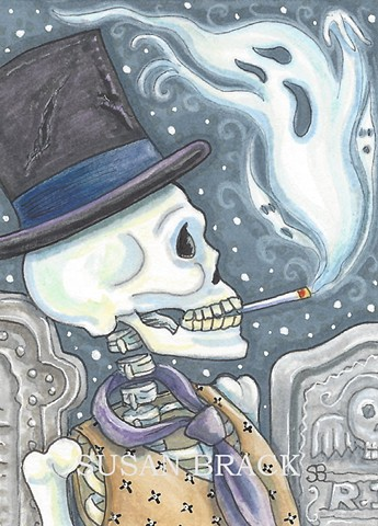 Skeleton Skelly Skull Smoker Cemetery Halloween Goth Outsider Susan Brack Art