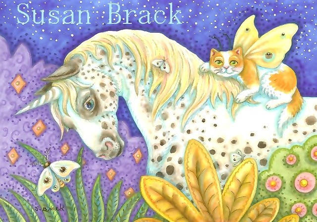 Appaloosa Unicorn Horse Pony Cat Fairy Secret Garden Fantasy Susan Brack Folk Art
