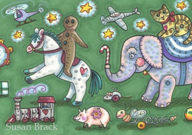 March Of The Christmas Toys Gingerbreadman Pony Train Elephant Susan Brack Art License