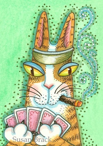 Hiss N Fitz Cat Feline Poker Game Cards Cigar Susan Brack Series Art Licensing