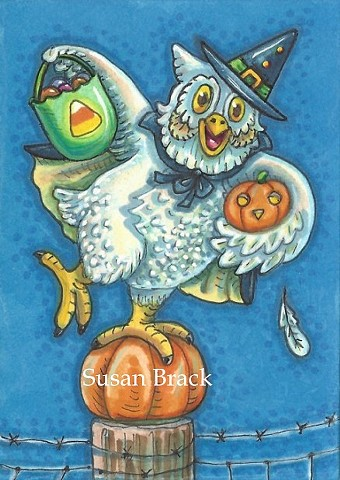 Witch Owl Costume Halloween Trick Or Treat Bird Susan Brack Holiday Art Illustration
