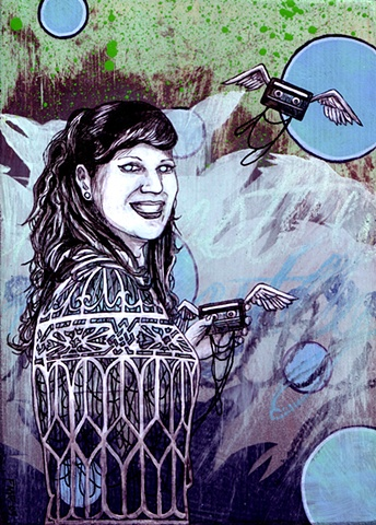 a mixed media painting portrait of a woman with a birdcage and flying cassette tapes
