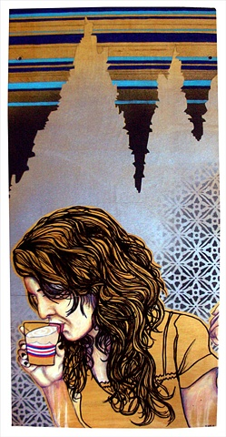 a mixed media painting portrait of a woman drinking a cocktail
