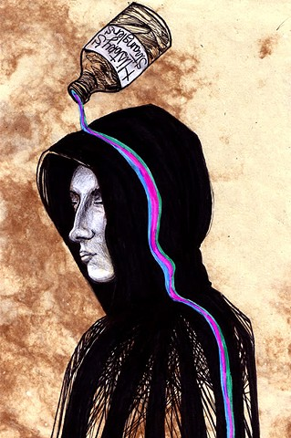 an acrylic art and ink portrait of a hooded man with a rainbow bottle of liquor