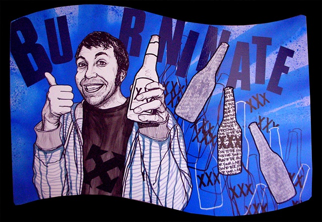 a mixed media painting portrait of a man holding a beer bottle wearing an H-street shirt