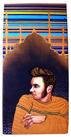 a mixed media painting portrait of a man with a pompadour and mutton chop sideburns