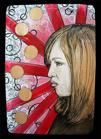 a mixed media painting portrait of a woman with red starburst