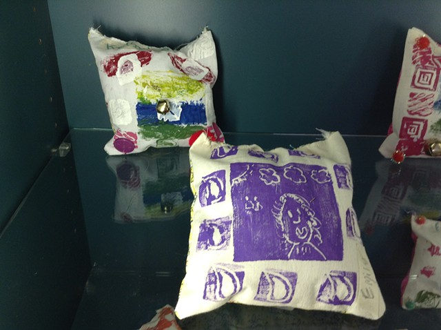 Dream pillows were printed, sewn and embellished