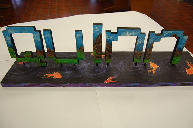 High school Name Sculpture-students designed, fabricated and painted sculptures