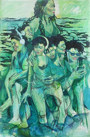 green women sirens African American Women dreads water