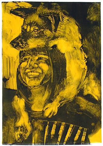 wolf pelt yellow monoprint