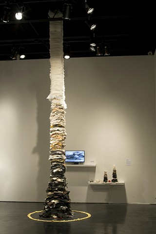 Installation view of Forgiveness Tower, process video, Quote stack, tower mockup and materials sample shelf
