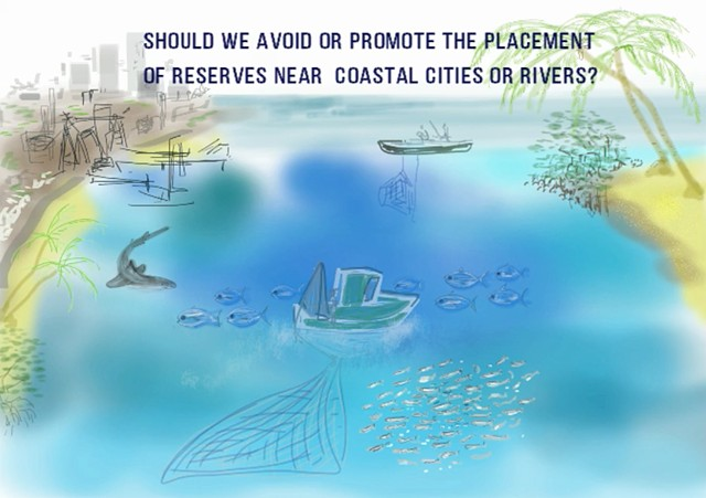 Animation about a study on the benefits of marine reserves near coastal rivers and cities by Chantal Huijbers (2015) in the journal Conservation Letters.