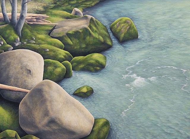Realistic landscape water rocks moss acrylic painting Terry Nelson