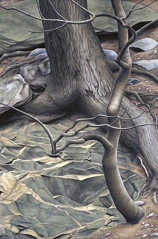 Acrylic painting of trees growing out of rock