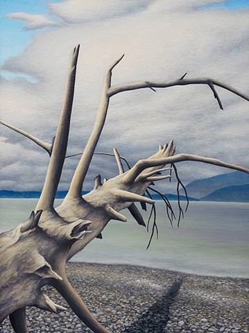 Acrylic painting of driftwood log on Puget Sound beach