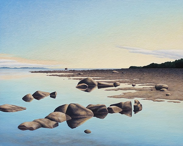 Realistic landscape beach rocks acrylic painting Terry Nelson