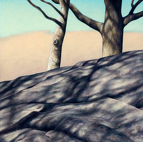 Acrylic painting of trees and shadows on rock with cloud background
