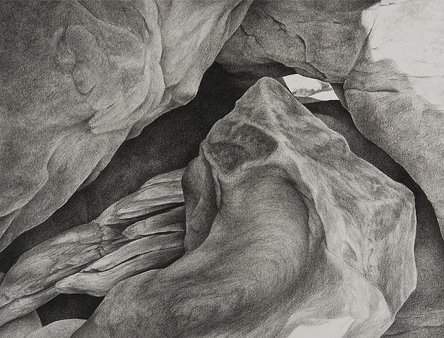 Charcoal drawing of sandstone rock on Puget Sound coast