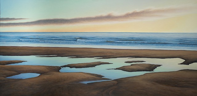 Acrylic painting depicting Washington coast by Pacific Northwest artist Terry Nelson