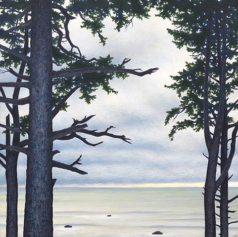 Realistic landscape trees ocean acrylic painting Terry Nelson