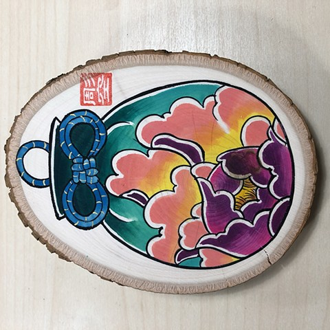 Original water color painting on wood of omamori with peony flower botan