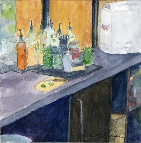 watercolor painting of rye whiskey bottles and lime in back of the bar all set up and ready to go by M Christine Landis