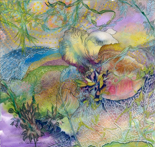 watercolor and colored pencils abstract drawing of the everglades with iris, turtles, fish by M Christine Landis
