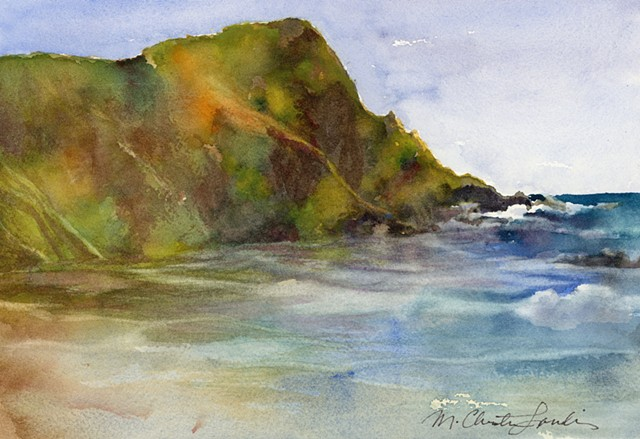 watercolor painting of beach at Julia Pfieffer Burns State Park California by M Christine Landis