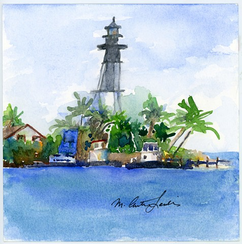 watercolor painting of Hillsboro Inlet Lighthouse by M Christine Landis